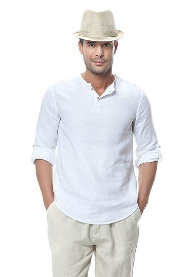 fca86f1fdff53 Insun Homme Chemise Été Henley Shirt en Lin Décontracté à Manches Longues  Couleur Unie Blanc FR