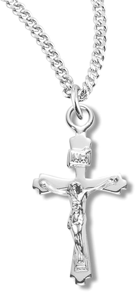 """Made in Italy Charm Sterling Silver Crucifix Cross 3D Pendant 18/"""" Box Chain"""