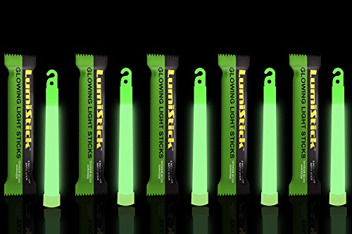 Lumistick 6 Inch Glowstick Rods - Individually Packed Emergency Light Stick - 12 Hour High Intensity Glow Lights