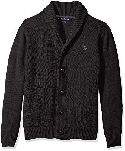 U.S.+Polo+Assn.+Men%27s+Seed+Stitch+Texture+Shawl+Cardigan+Sweater%2C+Charcoal+Heather%2C+Large