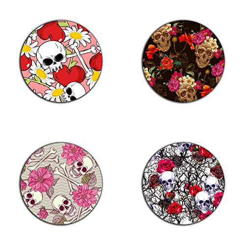 (Skull and Flowers pattern round coaster set - Made of recycled rubber - set of 4)