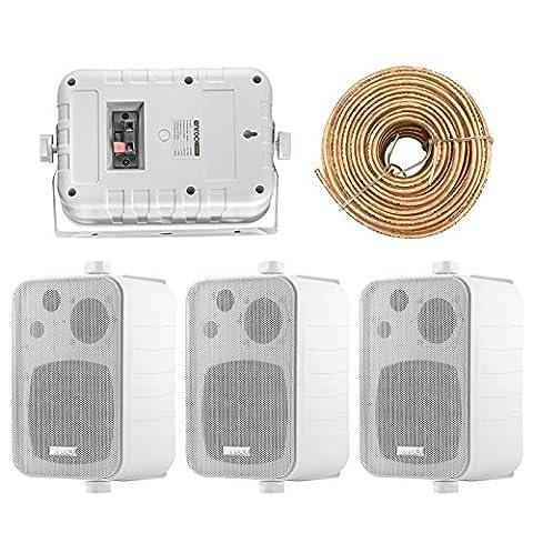4x Speakers Bundle Package: 2 Pairs of Enrock Audio EKMR408W 4-Inch 200 Watts White 3-Way Indoor / Outdoor Marine Boat Box-Speaker Combo With 50 Foot 18 Guage Speaker (Amplifier Monoblock Lanzar Pro)