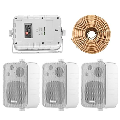 (4X Speakers Bundle Package: 2 Pairs of Enrock Audio EKMR408W 4-Inch 200 Watts White 3-Way Indoor/Outdoor Marine Boat Box-Speaker Combo with 50 Foot 18 Guage Speaker Wire)