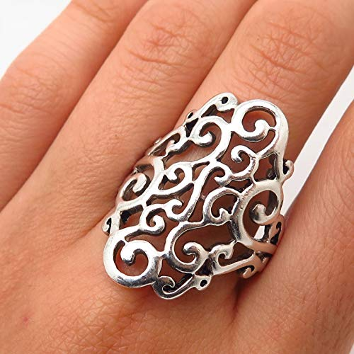 Signed 925 Sterling Silver Ornate Swirl & Scroll Design Wide Ring Size 9 Jewelry by Wholesale Charms