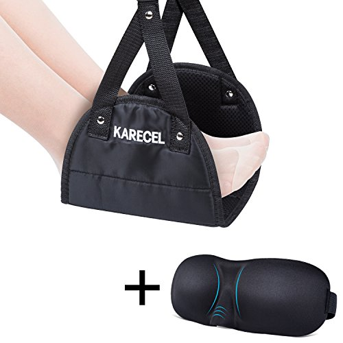 KARECEL Foot Rest Airplane Footrest Plus Eye Mask, [Upgraded] Foot Hammock Office Under Desk Footrest with Contoured Memory Foam Sleep Mask, Portable Footrest Travel Accessories for Home Plane Bus