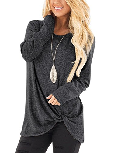 YOINS Women Top Crossed Front Design Round Neck Long Sleeves Loose Fit T-Shirts Dark Grey L by YOINS