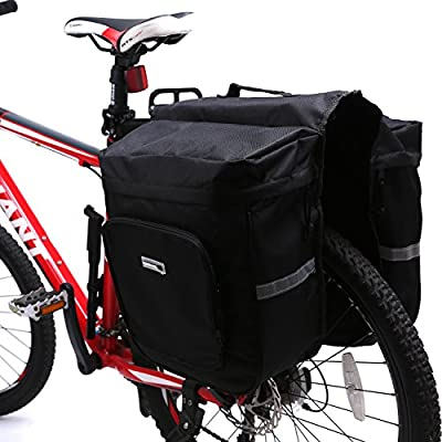 VINQLIQ 30L Capacity Bike Bicycle Cycling 2 Bags Rear Rack Cargo Pannier Bag Pack with Rain Cover, Lightweight, Durable, Waterproof for Road, Mountain, City, Hybrid, Folding Bike