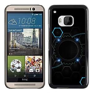 TopCaseStore / la caja del caucho duro de la cubierta de protección de la piel - Cool Black Blue Gear Hive - HTC One M9
