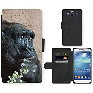 Super Stella Cell Phone Card Slot PU Leather Wallet Case // M00149644 Africa Animal Ape Big Black // Samsung Galaxy S3 S III SIII i9300