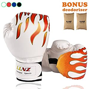 Kid Boxing Gloves by Luniquz, Child Punching Gloves Punch Bag Fight Sparring Training, 6oz for 3 to 10 YR, with Bamboo Deodorizer(White)