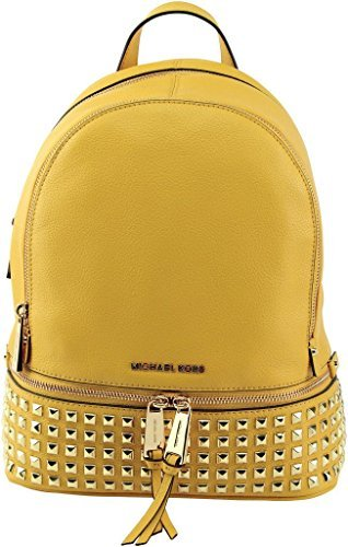 MICHAEL KORS Rhea Studded Leather Zip Small Backpack (Sunflower) by Michael Kors