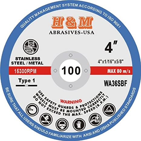 "50 Pack 4.5/"" inch 1//16/"" Cut-off Wheels 4.5 Cutting Discs Stainless Steel /& Metal"