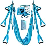 Yoga4You Aerial Yoga Swing Set - Yoga Hammock Swing - Trapeze Yoga Kit - 2 Extension Straps - Wide Flying Yoga Inversion Tool - Antigravity Ceiling Hanging Yoga Sling - Adult Kids Arial Toga (Blue)