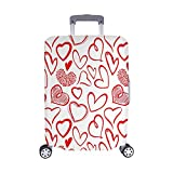 InterestPrint Vintage Valentine Love Heart Travel Luggage Protector Baggage Suitcase Cover Fits 22''-25'' Luggage