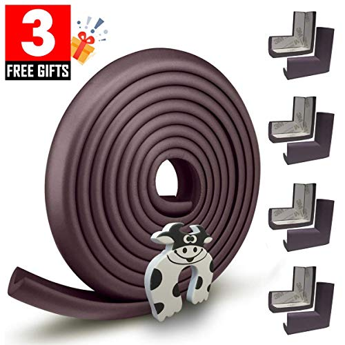- Edge Guard & Corner Protector - Extra Long 19.0ft [16.5ft Edge + 8 Pretaped Corners] with Baby Proofing, Home Safety Furniture Bumper and Table Edge Guards Child Safety [Brown]