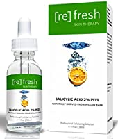 Salicylic Acid 2% Daily Gentle Peel - Naturally Derived From Willow Bark (Professional Chemical Peel). BHA Beta-Hydroxy Anti-aging and and Anti-acne Peel. Best At Home Peel for Acne Scars, Wrinkles brought to you by Refresh Skin Therapy