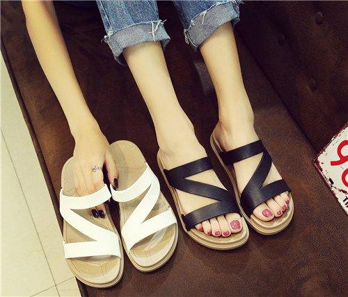 Pantofole Pantofole Antislittamento Fondo Pantofole Nero Sandali Piatto Qingchunhuangtang z45Bgqxw