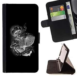 - Black Accordion Player Skull Cowboy - - Prima caja de la PU billetera de cuero con ranuras para tarjetas, efectivo desmontable correa para l Funny HouseFOR Apple Iphone 6