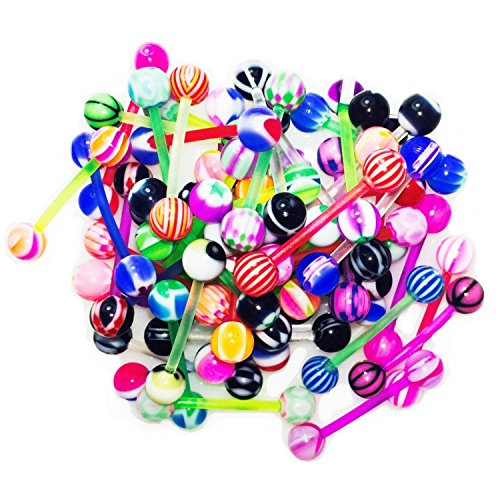 BodyJ4You 20PC Tongue Barbells Nipple Rings 14G Mix Acrylic Ball Flexible Bar Body Piercing Jewelry