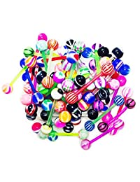 BodyJ4You Tongue Ring Assorted Lot of 20 Flexible Tongue Ring Piercing Barbells 14 Gauge No Duplicates