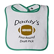 Daddy S First Round Draft Pick Football Cotton Terry Unisex Baby Terry Bib Contrast Trim - White Green, One Size