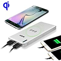 Wireless Charger Power Bank, Antye Qi Wireless Charging Pad Station &10000mAh External Battery Pack for iPhone 8/8 Plus, iPhone X, Samsung Galaxy S8/S8 Plus/S7 S6 Edge (Plus), Nexus 5/6, HTC, LG White