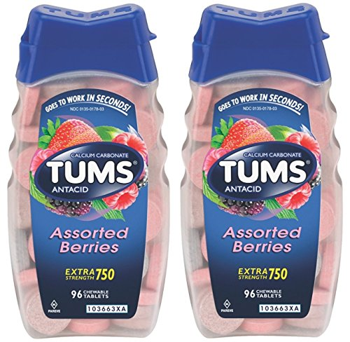 Tums Antacid Chewable Tablets, Extra Strength 750, Assorted Berries, 192 Tablets (2 X 96 Count ()