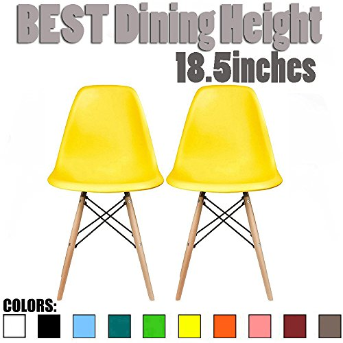 Yellow Natural Wood (2xhome - Set of Two (2) Yellow - Eames Side Chair Eames Chair Yellow Seat Natural Wood Wooden Legs Eiffel Dining Room Chairs No Arm Arms Armless Molded Plastic Seat Dowel Leg)