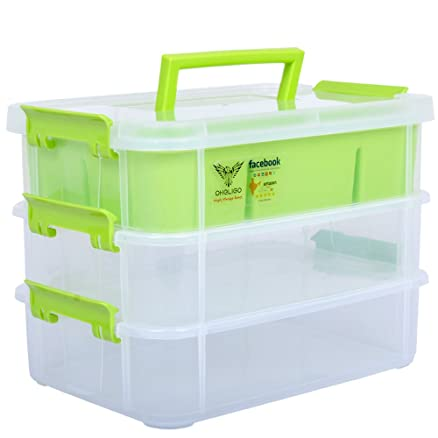 Oheligo 3 Layer Plastic Storage Box Medical Transparent Jewellery Organizer Perfect For Camping