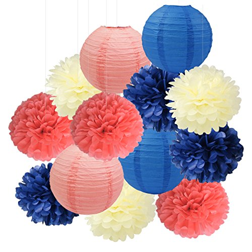 Furuix Navy Coral Bridal Shower Decorations Tissue Pom Pom Flower Navy Coral Paper Lanterns for Wedding Party Decorations/Birthday Party Decor