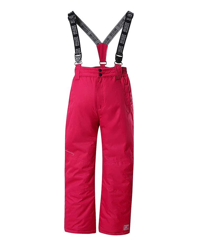 Pantalon De Ski Softshell Filles Et Gar/çons Pantalon Sports D/'Hiver Imperm/éable avec Bretelles Pantalon De Pluie Pantalon De Ski Et De Snowboard pour Enfants