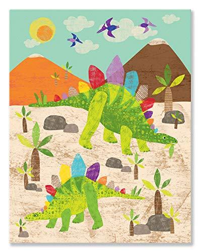 (Oopsy Daisy, Fine Art for Kids Dinosaur Fun - Stegosaurus Canvas Wall Art Multi)