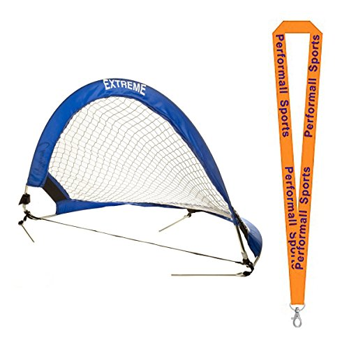Champion Sports Extreme Soccer Portable Pop-Up Goal Blue/White Bundle with 1 Performall Lanyard SG3018-1P by Champion Sports