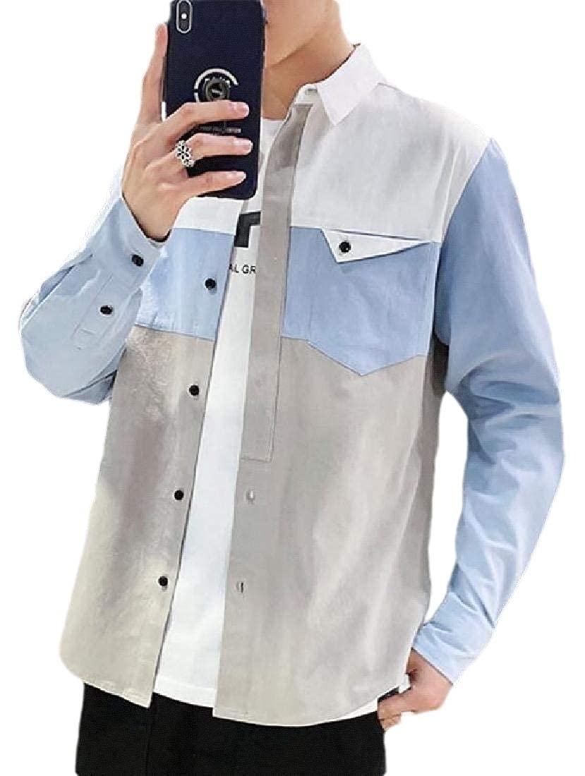WSPLYSPJY Men Button Down Color Block Long Sleeve Slim Fit Work Casual Shirt