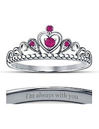 Ladies Fashion Ring Created Pink Sapphire 14K White Gold Finish Beautiful Heart Shape Princess Crown Ring