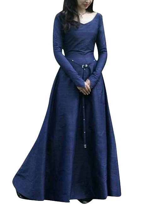 ShiFan Disfraz De Cuello En V Medieval para Mujer Tallas Grandes Vestidos De Fiesta con Manga Larga Elegantes: Amazon.es: Ropa y accesorios