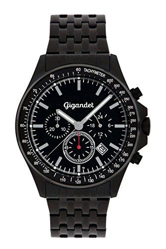 Gigandet Men's Quartz Watch Volante Chronograph Analog Stainless Steel Bracelet Black G3-015