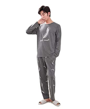 FGSJEJ Pijamas de hombres, trajes de servicio a domicilio para hombres (Color : Gray