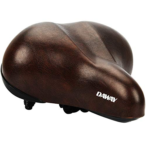 Seat Padded Brown - DAWAY Oversized Comfortable Bike Seat - C20 Soft Foam Padded Wide Leather Bicycle Saddle Cushion Men Women Seniors, Fit Cruiser, Spin, Exercise Bikes & Outdoor Cycling, 1 Year Warranty, Brown