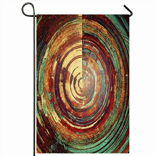 (Ahawoso Outdoor Garden Flag 12x18 Inches Protection Red Green Abstract Stains Patterns Ancient Rust Orange Vintage Blue Beige Seasonal Double Sides Home Decorative House Yard Sign)