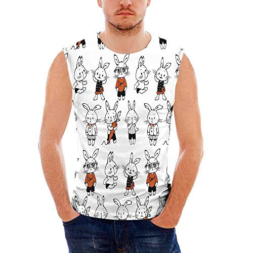 Funny100% Heavy Cotton H D Tank,Cute Retro Bunny Rabbits with Costumes Jack Hare ()