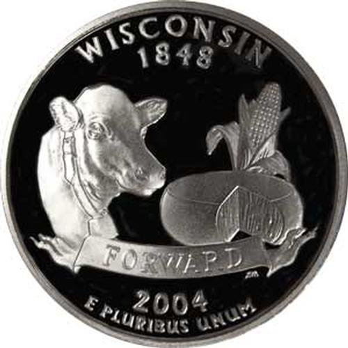 2004 Wisconsin S Gem Proof State Quarter US Coin