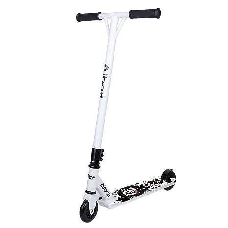 Scooter, de Albott®, para trucos 360 grados, barra fija, para niños, adolescente y adultos (blanco-negro)