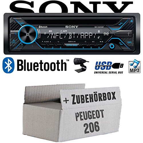 Peugeot 206 - Sony MEX-N4200BT | Bluetooth CD/MP3/USB Autoradio - Einbauset JUST SOUND best choice for caraudio