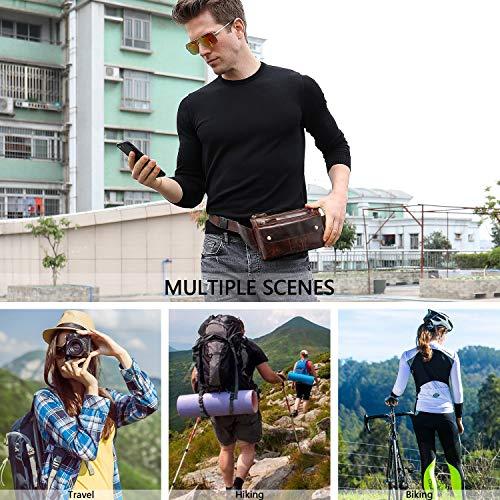 Fashionable Genuine Leather Fanny Pack Slim Waist Bag with Adjustable Belt Strap Brown