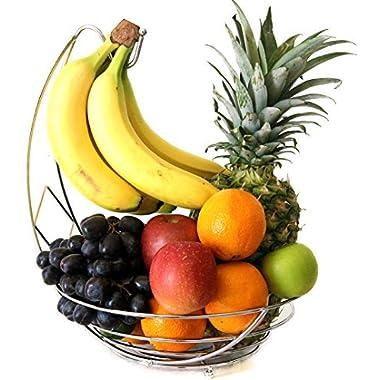 CARAT Fruit Bowl Basket with Banana Hanger - Chrome Wire Metal Basket / Fruit Storage / Fruit Holder / Fruit Hanger / Banana Hook / Banana Tree Holder