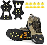 EONPOW Ice Grips, Ice & Snow Grips Cleat Over Shoe/Boot Traction Cleat Rubber Spikes Anti Slip 10 Steel Studs Crampons Slip-