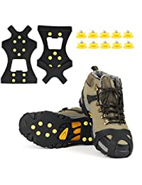 Ice Grips, EONPOW Ice & Snow Grips Cleat Over Shoe/Boot Traction Cleat Rubber Spikes Anti Slip 10 Steel Studs Crampons Slip-on Stretch Footwear(Extra 10 Studs)