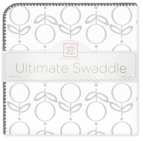 (SwaddleDesigns Ultimate Swaddle, X-Large Receiving Blanket, Made in USA Premium Cotton Flannel, Sterling Lolli Fleur (Mom's Choice Award Winner))