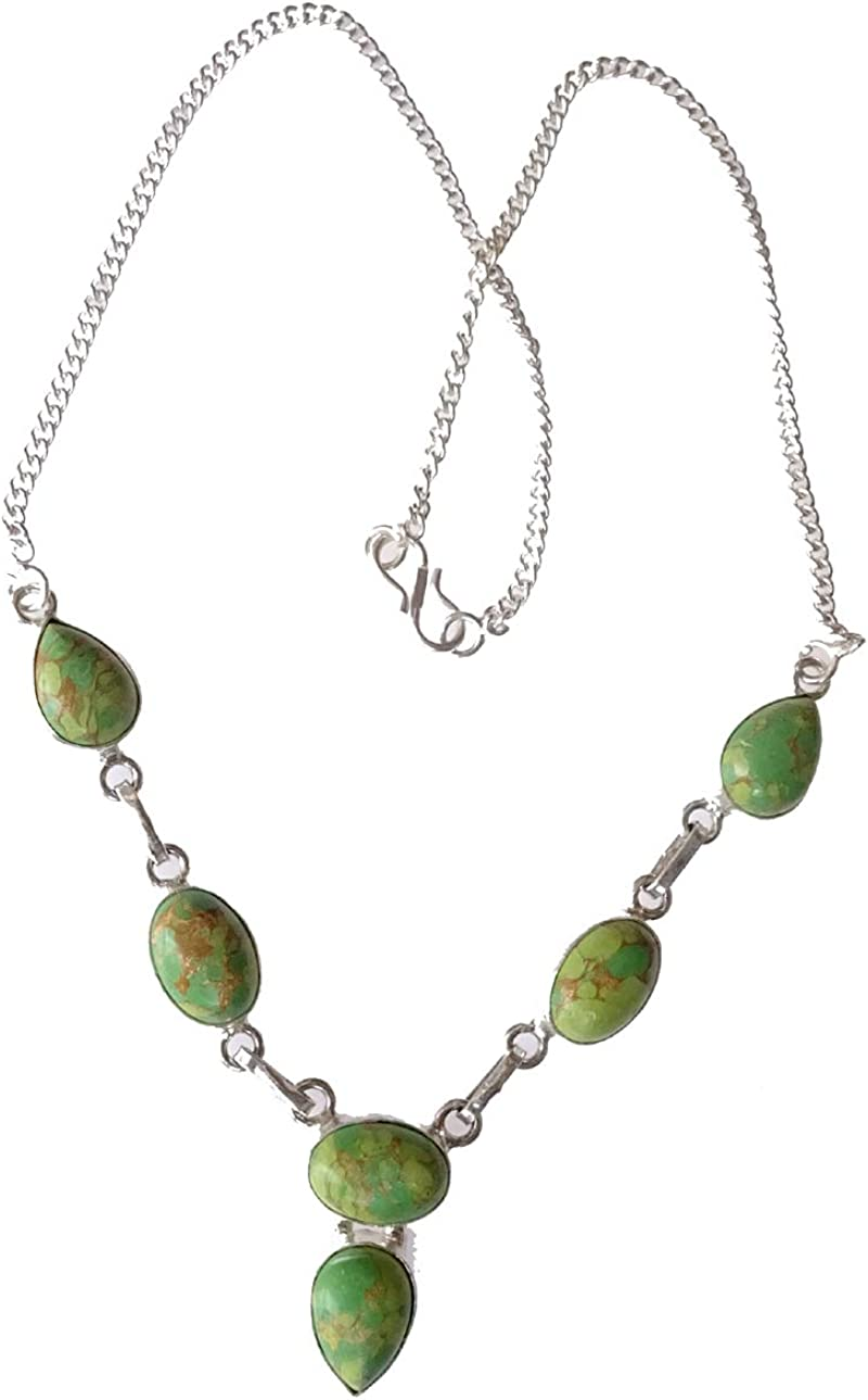 India Jewel Store Collar Hermoso Collar de Plata de Ley 925 Plateado Cobre Turquesa Piedras Preciosas Collar de diseñador de Moda para Mujeres y Adolescentes joyería Moderna Artesanal Hecha a Mano